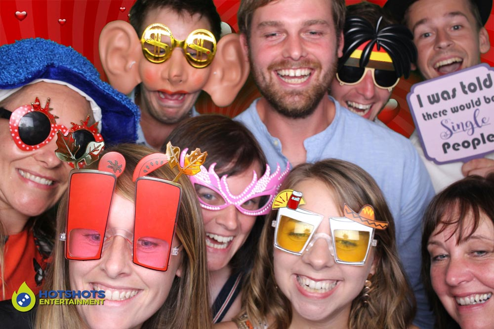 Family fun with props on in the photo booth