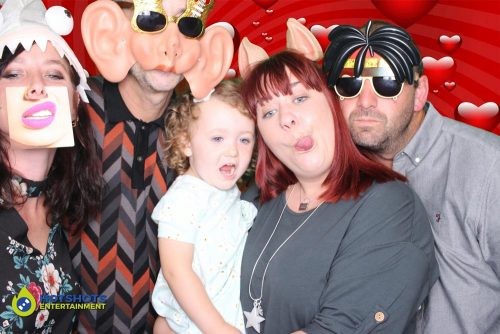 Inflatable photo booth fun with tongues out