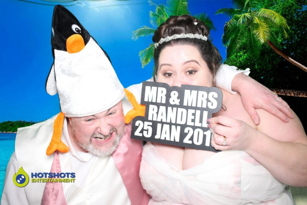 Old Down Manor wedding photo booth with the bride and groom
