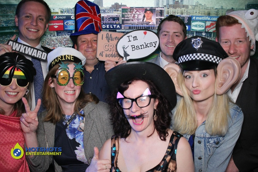 Photo booth hire, open style with 8 people in at one time.