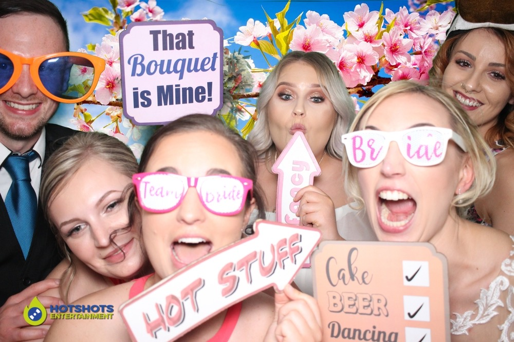 Photo booth fun with the wedding guests and Bride at the lovely Eastington Park. Love the new bride and Team Bride glasses, plus signs, with an awesome green screen background.