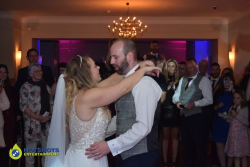 Wedding Couple, first dance at Coombe Lodge with DJ Morf from Hotshots Entertainment.