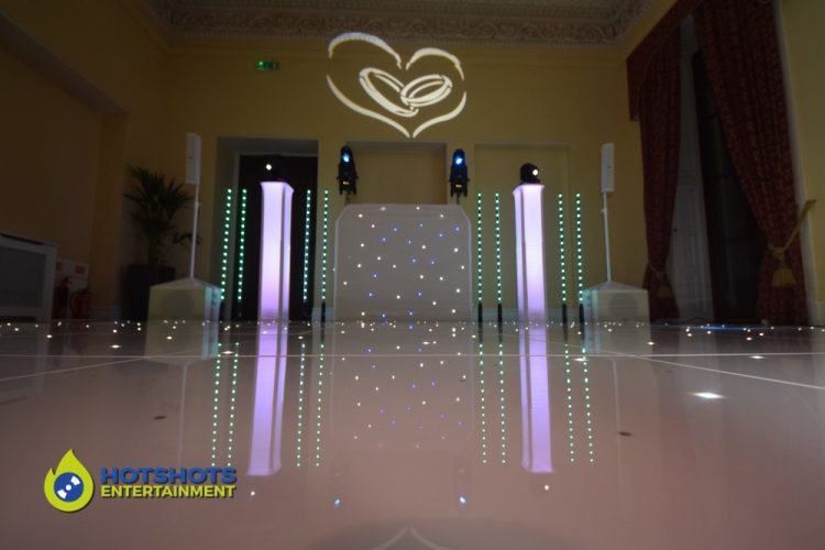 Platinum disco set up at Leigh Court