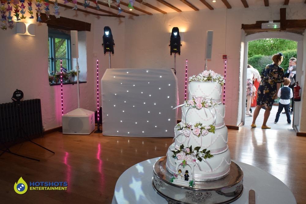 Wedding cake at Priston Mill water mill.