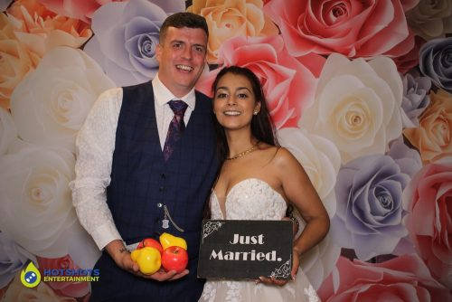 Bride and Groom. Apples and Pears. Just Married