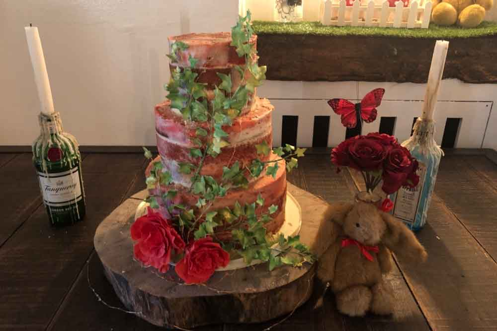 Wedding cake at racks