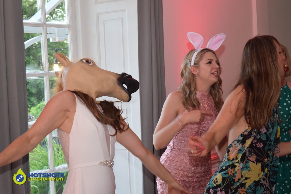Horse head photo booth prop, dancing with  wedding guests