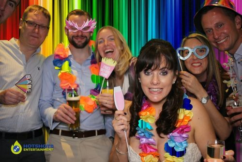 Bride and guests having fun with green screen technology