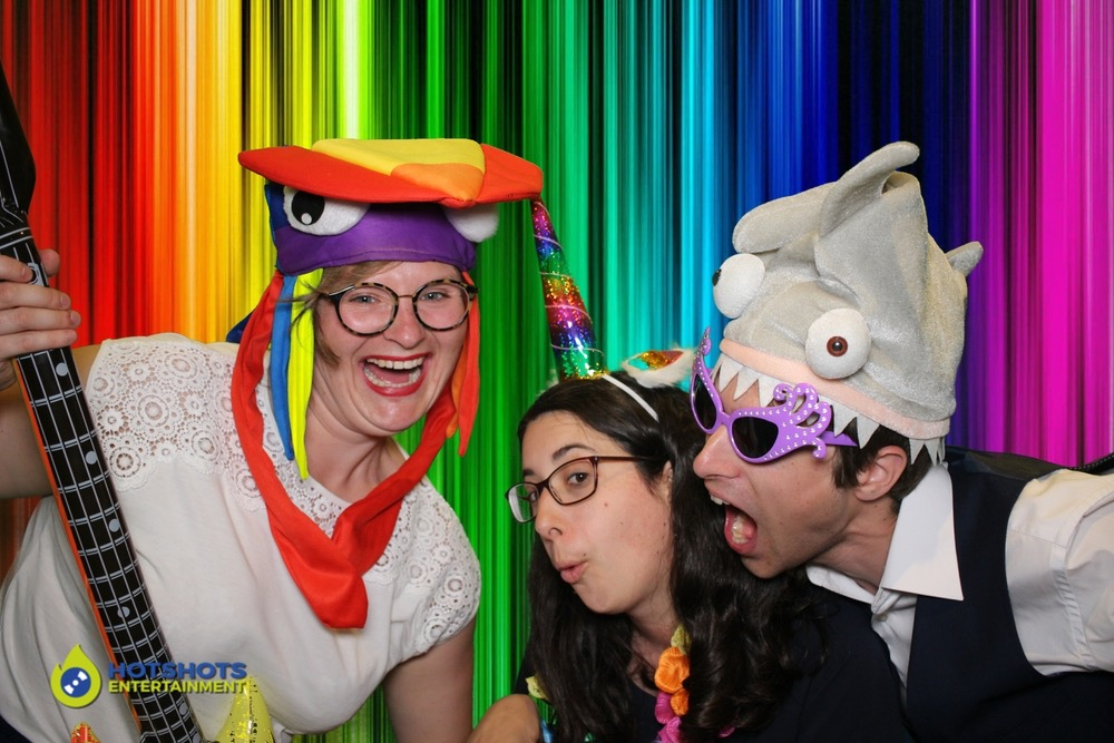 Wedding guests in the photo booth hire