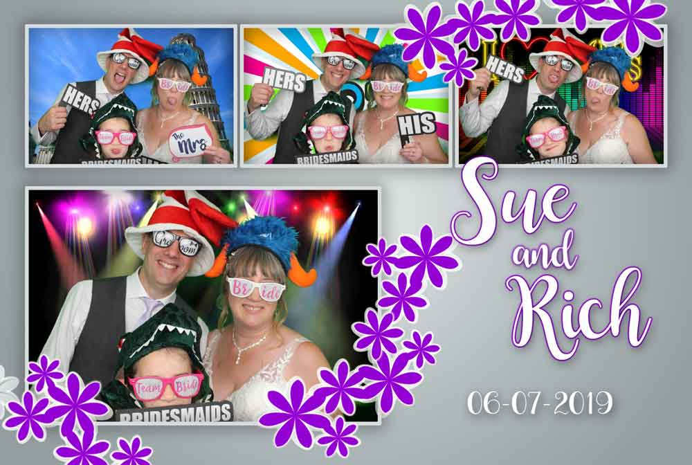 Wedding couple with their template design in the photo booth, having fun with the green screen and props.