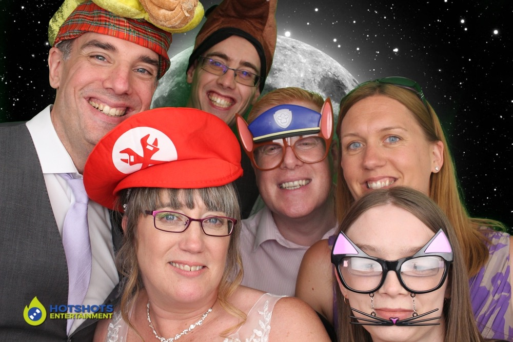 Let's go to the moon said the guests at a wedding photo booth