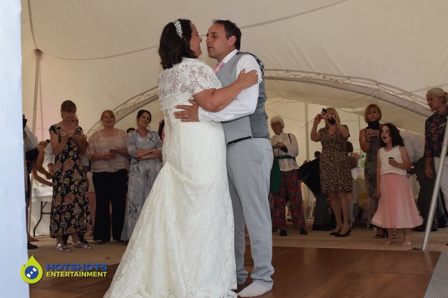 Happy couple doing the first dance at USK Castle