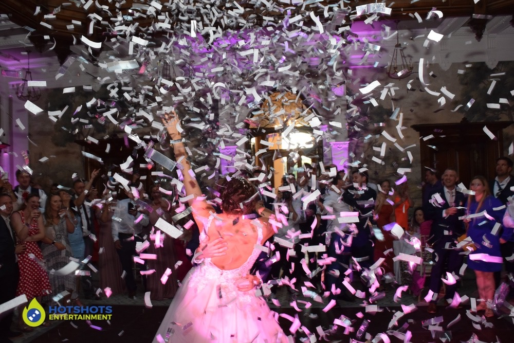 Bride and Groom in a confetti shot