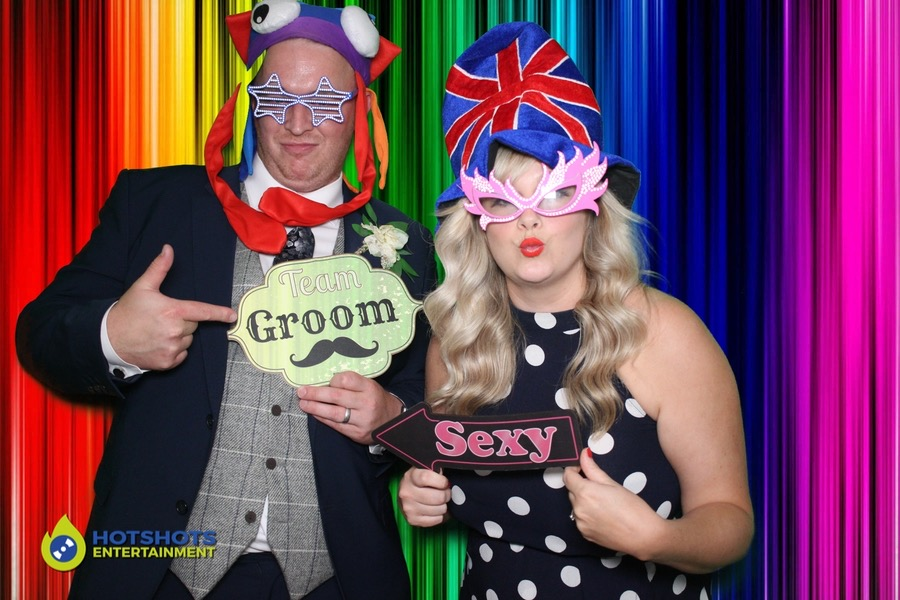 Wedding guests enjoying the photo booth with green screen
