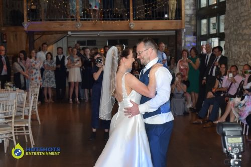 First dance with the bride and Groom at Priston Mill Tythe Barn.