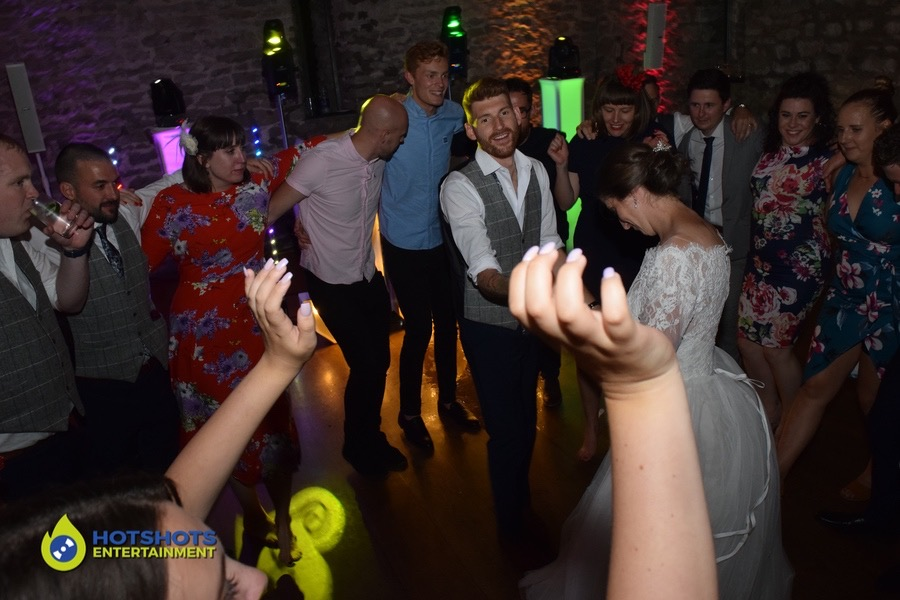Wedding guests dancing the night away at Priston Mill
