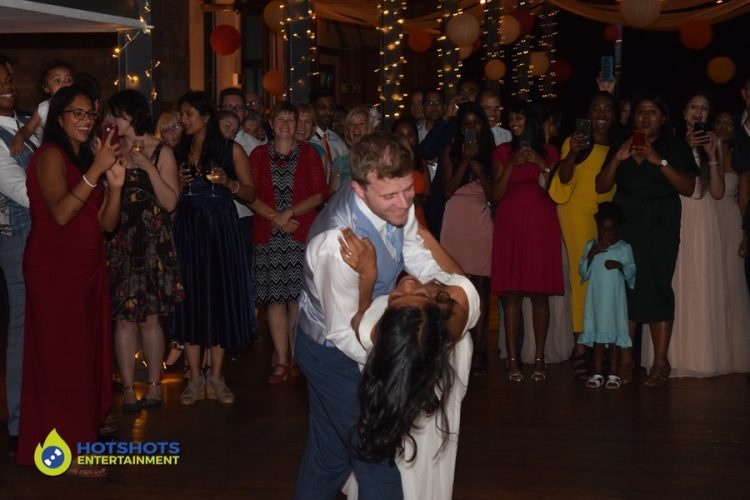 Bride and Groom with their first dance song.
