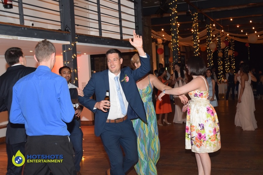 Wedding guests on the dance floor