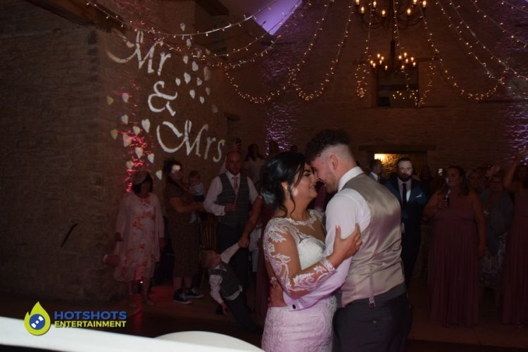 First dance with the bride and groom, such a lovely happy couple with Ed Sheeran's Perfect playing.