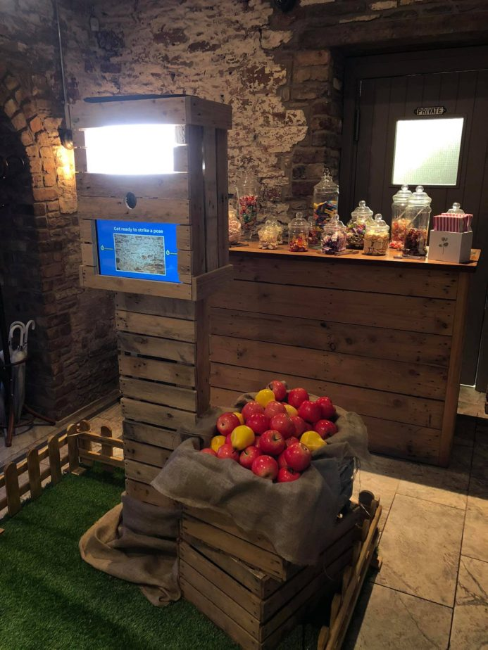 Rustic photo booth hire at The White Horse Barn in Hambrook.