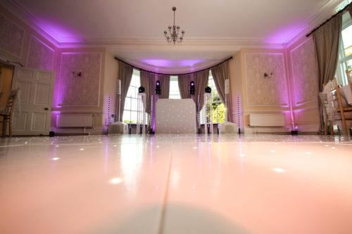 Wedding disco and LED dance floor at Eastington Park